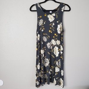 Old Navy Dark Gray Floral Dress Size Large
